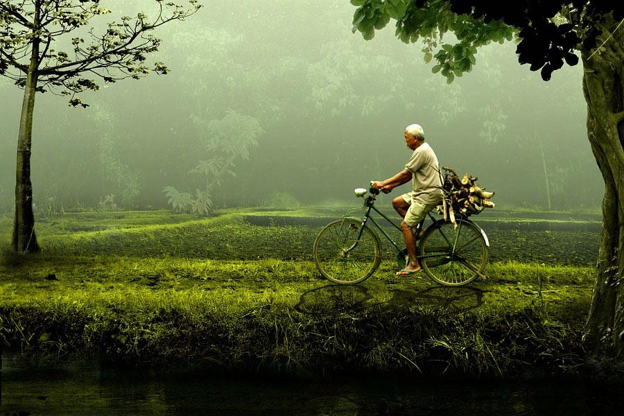 Man traveling through clean nature