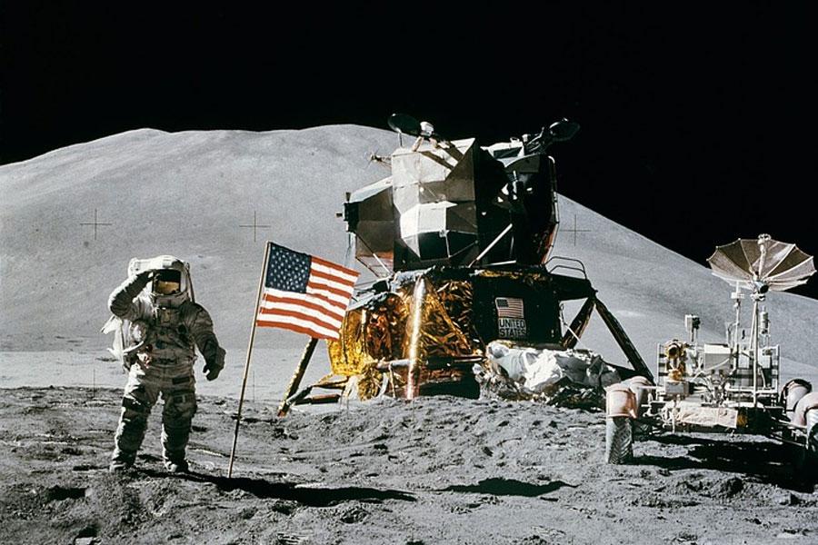Man With USA Flag on Moon
